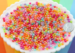 Spacer Beads - 4mm Super Tiny AB Translucent Shiny Iridescent Pearly Plastic or Acrylic Beads - Great as Spacer Beads - 1000 pc set
