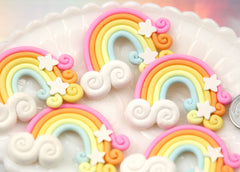 50mm Huge Pastel Fimo Magical Stars Clouds Rainbow Polymer Clay Flatback Cabochons - 3 pc set