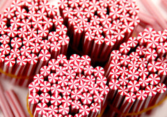 5mm Tiny Candy Cane Peppermint Red and White Stripe Swirl Clay or Fimo Sticks Cabochons - for nails or decoden - 15 pc set