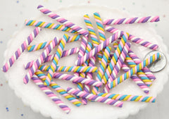 50mm Marshmallow Twist Cane Fimo Stick Clay Pastel Candy Cabochons - For Fake Food Crafts - 6 pc set