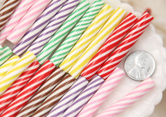 50mm Colorful Candy Cane Fimo Stick Clay Faux Candy Cabochons - For Fake Food Crafts - 6 pc set