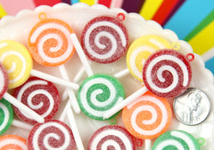 25mm Sugar Coated Swirly Plastic Lollipop Charms or Resin Pendants - 4 pc set