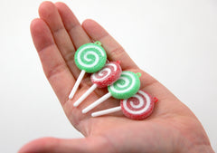 Lollipop Charms - 25mm Sugar Coated Christmas Plastic Lollipop Charms - 6 pc set