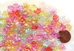 Flower Beads - 10mm Tiny 3D Flower AB Bead with Back Hole Iridescent Transparent Color Plastic Acrylic or Resin Beads – 150 pc set