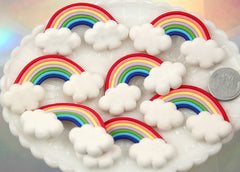 57mm Fimo Rainbow Clouds Polymer Clay Flatback Cabochons - 4 pc set