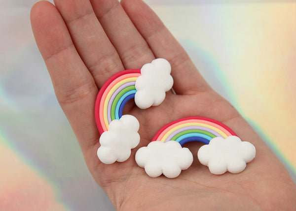 57mm Fimo Rainbow Clouds Polymer Clay Flatback Cabochons