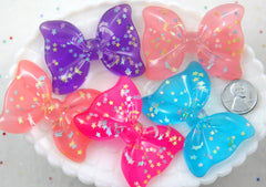Kawaii Cabochons - 56mm Huge Pastel Sparkle Ribbon Bow with Star Confetti Resin or Acrylic Cabochons - 4 pc set