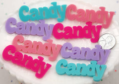 55mm Candy Pastel Word Letters Acrylic or Flatback Resin Cabochons - Great for Decoden - 4 pc set