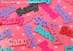 55mm Sweet Pastel Word Letters Acrylic or Flatback Resin Cabochons - Great for Decoden - 4 pc set
