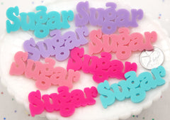 55mm Sugar Pastel Word Letters Acrylic or Flatback Resin Cabochons - Great for Decoden - 4 pc set