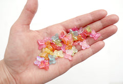 Butterfly Beads - 14mm AB Translucent Iridescent Color Little Butterfly Shaped Resin or Acrylic Beads - 100 pc set