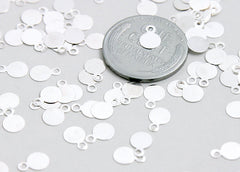 8mm Silver Color Bails or Drop Pads - 200 pc set