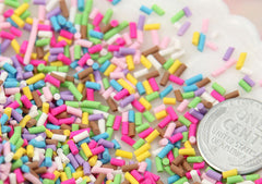 5mm Fake Sprinkles Colorful Faux Chocolate Topping Candy Flakes Polymer Clay or Fimo Cabochons - 48 g bag