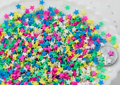 Fake Sprinkles - 48 grams 5mm Star Fake Sprinkles Colorful Faux Chocolate Topping Candy Flakes Polymer Clay or Fimo Cabochons - 48 g bag