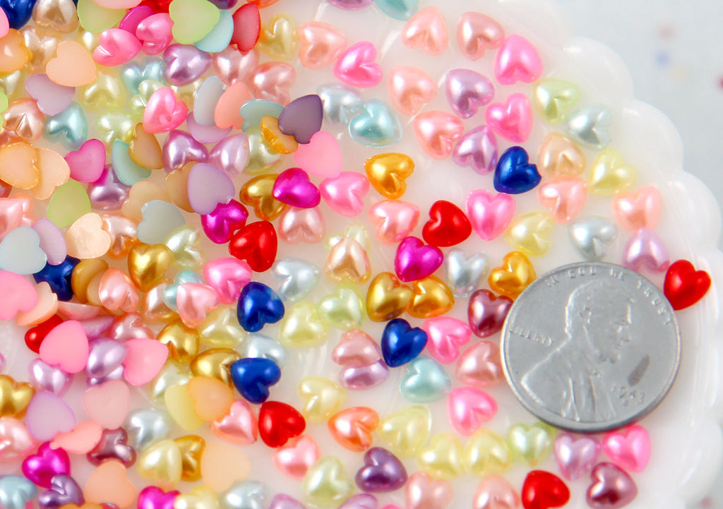 5mm Tiny Pastel Pearl Heart Plastic Flatback Resin Cabochons - 400 pc set