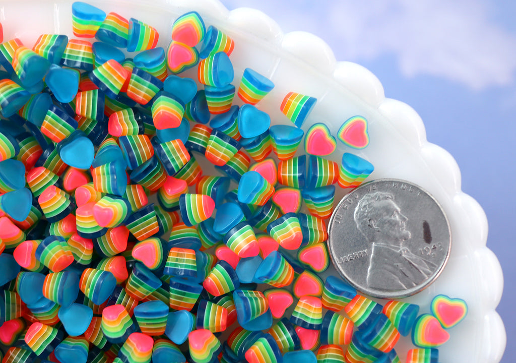 5mm Tiny Bright Striped Blue Neon Rainbow Hearts Resin Flatback Cabochons - 15 pcs set