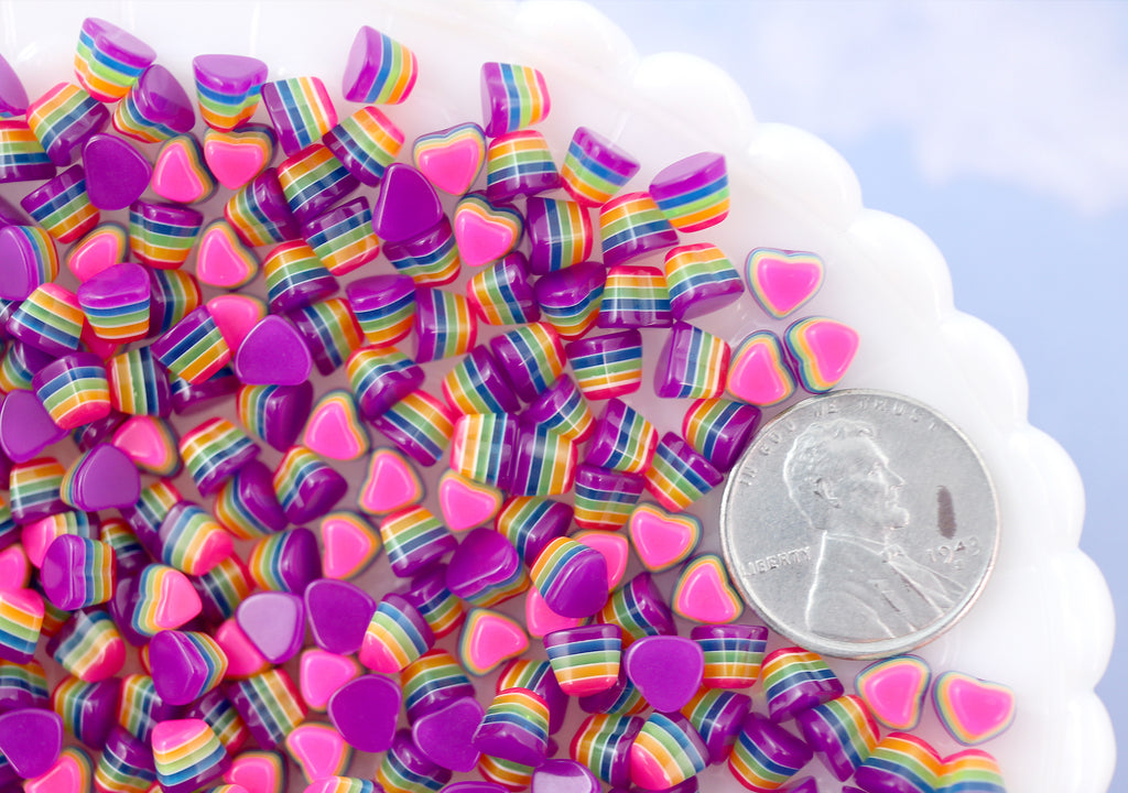5mm Tiny Bright Striped Purple Neon Rainbow Hearts Resin Flatback Cabochons - 15 pcs set