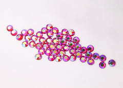 6.5mm AB Hot Pink Fuchsia Crystal Rhinestones - AB Light Siam (SS30) – 50 pc set