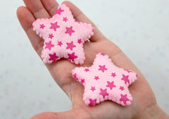Star Appliques - 60mm Fluffy Pink Stars Soft Plush Fabric Decorations Appliques or Patches - 2 pc set