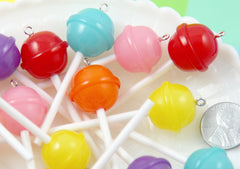 20mm Little Lollipop Round Plastic Pendants or Resin Charms, Fake Lollipops Cabochons - 6 pc set