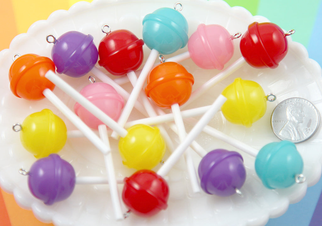 15 Colors 45 Pieces Polymer Clay Lollipops Colorful Lollipops Clay Pendant Lollipop Charms for Key Bag Decor DIY Jewelry Making