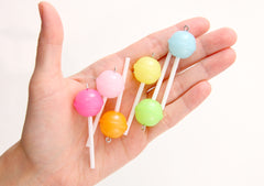 Fake Lollipops - 20mm Pastel Little Lollipop Round Plastic Pendants or Resin Charms - 6 pc set