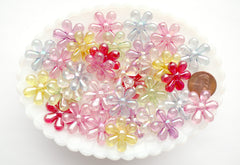 Flower Beads - 23mm Big AB Transparent Flower Iridescent Color Plastic Acrylic or Resin Beads – 40 pc set