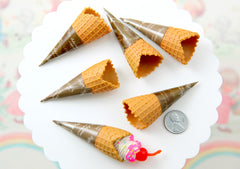 Fake Food - 65mm Fake Ice Cream Cones - for making fake food charms - 5 pc set
