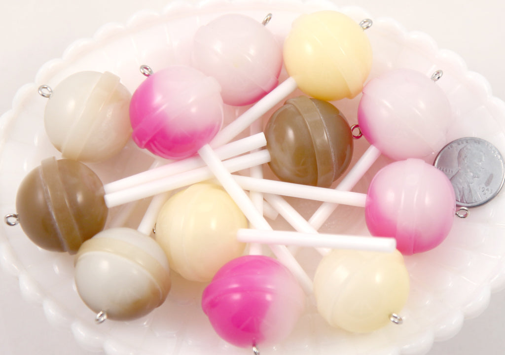 Lollipop Charms - 20mm Big Creamy Color Lollipop Round Plastic Pendants or Resin Charms - 6 pc set