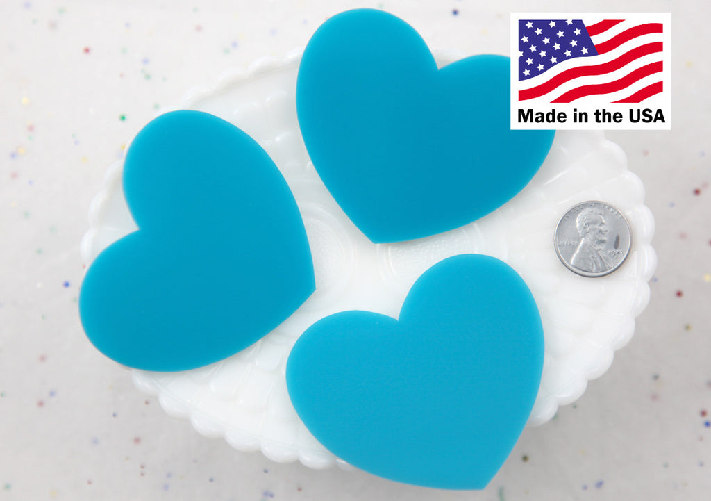 Big Heart Cabochons - 65mm Big Blue Solid Color Heart Acrylic or Resin Cabochons - 3 pc set