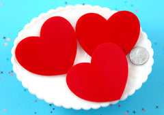 Big Heart Cabochons - 65mm Big Classic Red Heart Acrylic or Resin Cabochons - 3 pc set