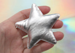 65mm Big Puffy Silver Shiny Stars Fabric Appliques or Patches – 6 pc set
