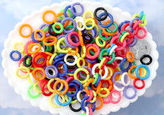 12-15mm Connecting Rings Bright Colorful Plastic or Acrylic Chain Links - Mixed Colors and Sizes - 200 pc set