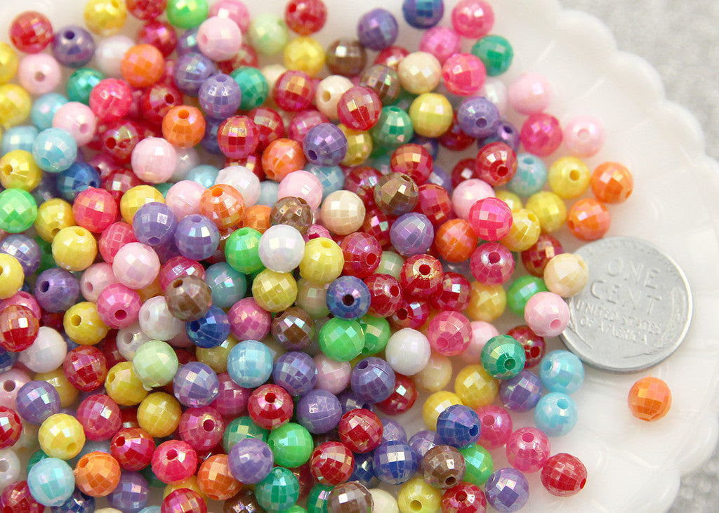6mm Faceted Disco Ball AB Plated Shiny Resin or Acrylic Beads, mixed color, small size beads- 200 pc set