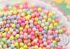 6mm Ice Cream Pastel Colors Shiny AB Iridescent Small Round Shape Plastic or Acrylic Beads - 500 pcs set