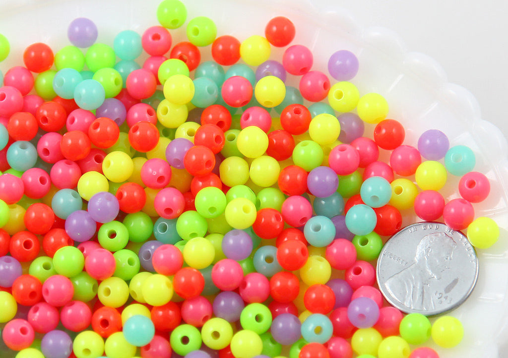 6mm Neon Gumball Bubblegum Acrylic or Resin Beads - 500 pc set