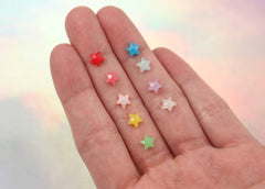 6mm Mini Jelly Star Milky Color Acrylic or Resin Cabochons - 50 pc set