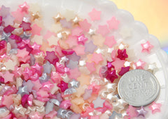 6mm Tiny Pastel Star Pearl Mixed Flatback Resin or Acrylic Cabochons - 100 pc set