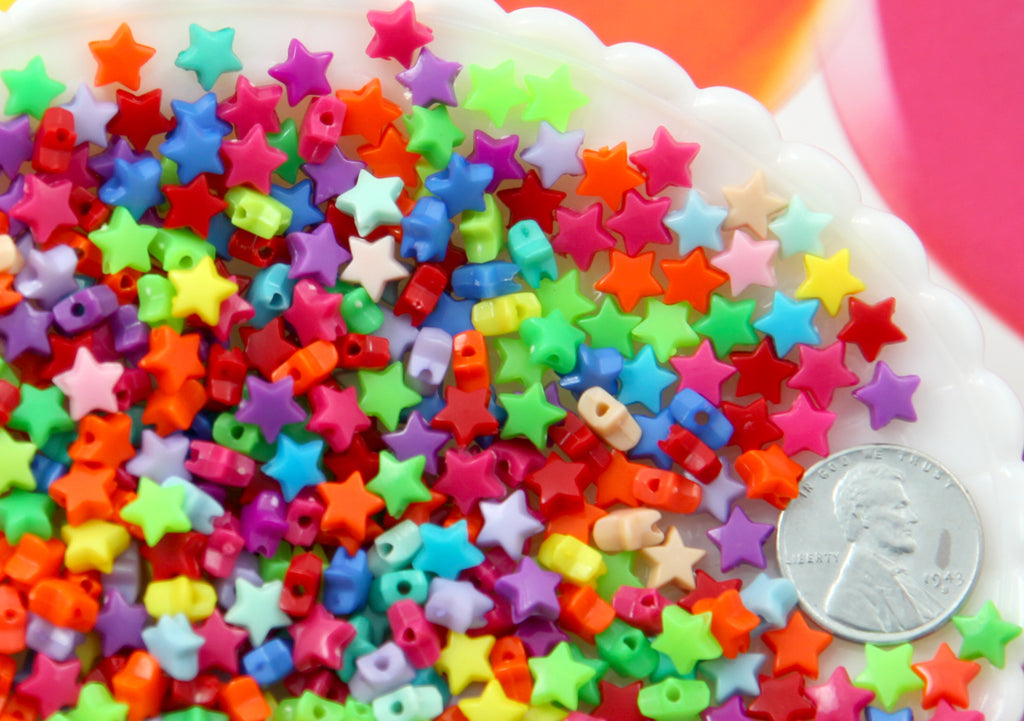 Tiny Star Beads - 6mm Super Tiny Plastic Acrylic or Resin Star Beads - Great as Spacer Beads - 500 pc set