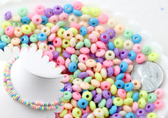Candy Necklace Beads - 6mm Tiny Candy Color Rondelle Pastel Disc Shaped Faux Candies Acrylic or Plastic Beads - 600 pc set