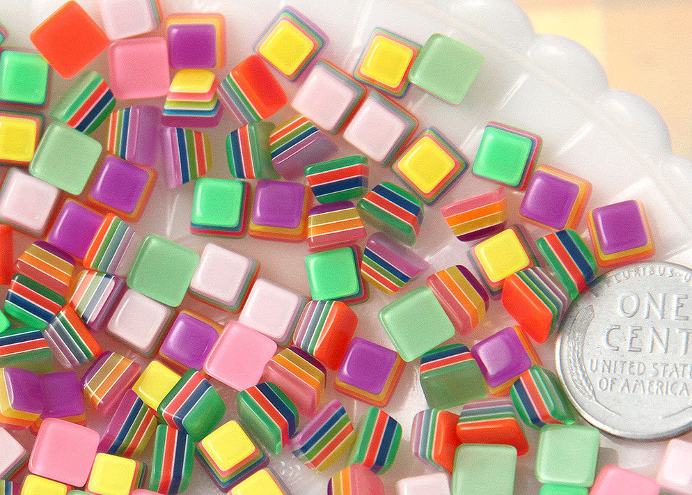 7mm Tiny Candy Cube Bright Striped Neon Rainbow Resin Flatback Cabochons - 20 pc set