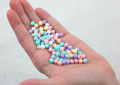 Pastel Beads - 6mm Small Pastel Gumball Bubblegum Plastic Acrylic or Resin Beads - 500 pc set