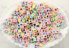 5mm Little White Cube Colorful Alphabet Acrylic or Resin Beads with 3mm Hole - 500 pc set