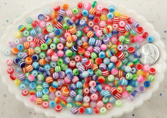 6mm Tiny Striped Resin or Acrylic Beads, mixed color, small size beads - 200 pc set
