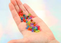 6mm Small Faceted Transparent Acrylic Beads - Tiny Colorful Clear Round Resin Beads - Mixed Colors - 500 pc set