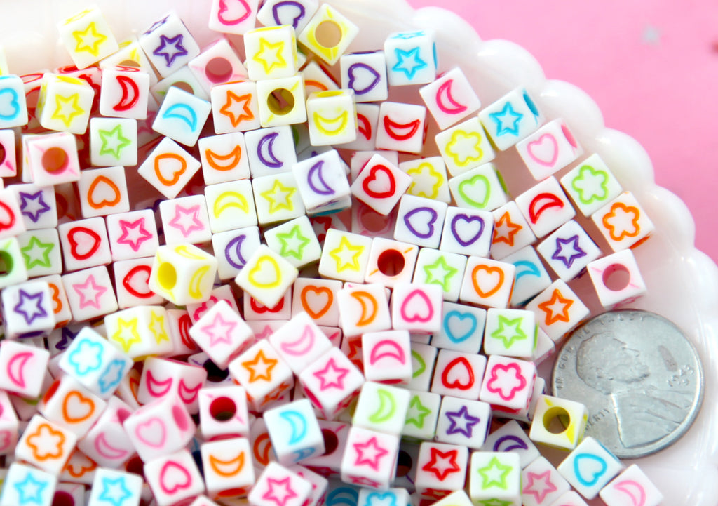 Symbols For 6mm Letter Beads 6mm Cube Shaped Moon Heart Flower And