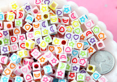 Symbols for 6mm Letter Beads - 6mm Cube Shaped Moon Heart Flower and Star Symbols for Alphabet Beads Acrylic or Resin Beads - 400 pc set