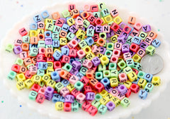 Pastel Letter Beads - 6mm Pastel Cube Shaped Alphabet Acrylic or Resin Beads - 300 pc set