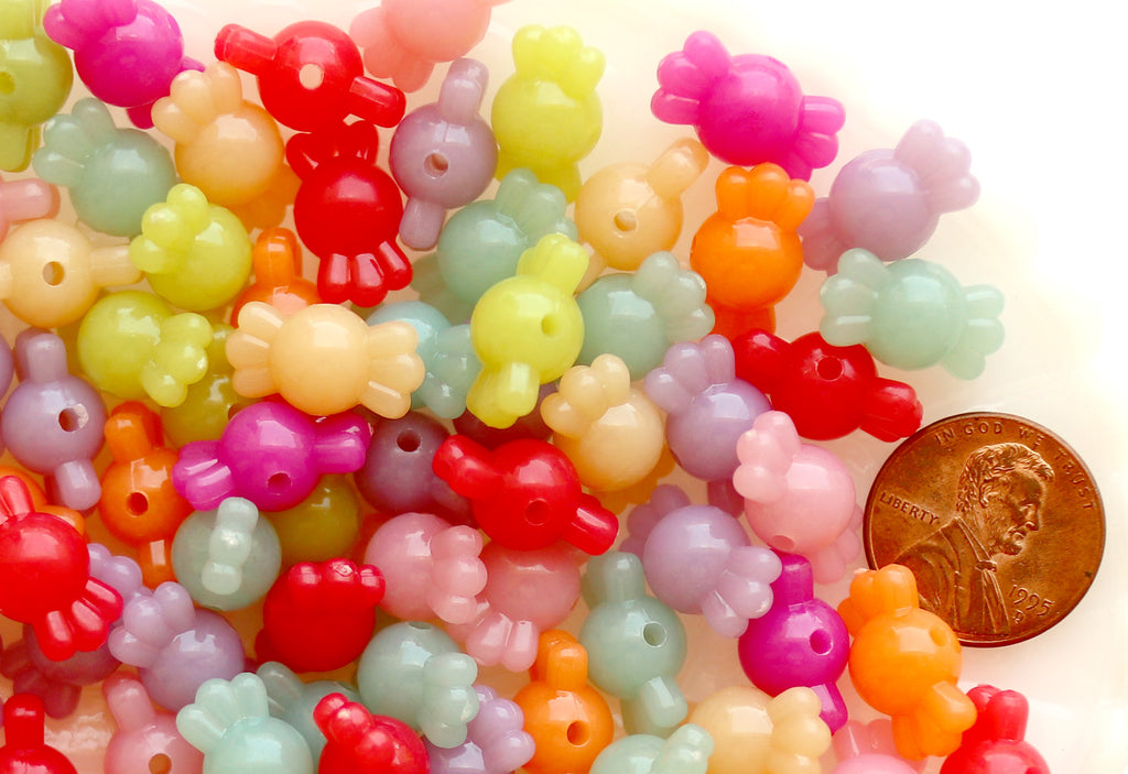 Candy Beads - 9mm Small Candy Shape Vibrant Jelly Color Acrylic or Resin Beads - 100 pc set