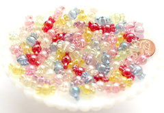 Candy Beads - 9mm Small Translucent AB Iridescent Candy Shape Acrylic or Resin Beads - 100 pc set